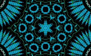Picture rays, blue, pattern, round, pepper, kaleidoscope