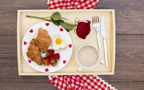 Picture love, roses, Breakfast, hearts, love, romantic, hearts, coffee cup, strawberry, valentine, croissants, growing, breakfast, roses, …