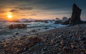 Picture sea, wave, beach, the sun, sunset, pebbles, stones, rocks, dawn, shore, surf