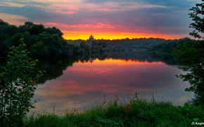 Picture water, sunset, nature, Landscape, Bryansk, Река Десна, Свенский монастырь