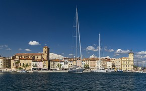 Picture France, building, home, yachts, port, Bay, promenade, France, harbour, Cote d'azur, French Riviera, The French …