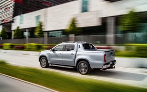 Picture movement, Mercedes-Benz, speed, blur, pickup, 2018, X-Class, gray-silver