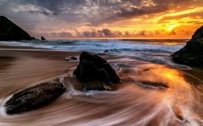 Wallpaper sea, sunset, shore