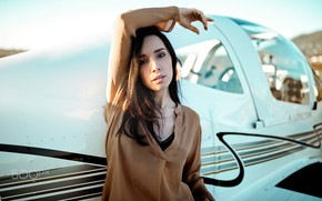 Picture look, the sun, pose, model, portrait, makeup, brunette, hairstyle, blouse, the plane, bokeh, Nicholas David …