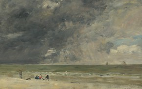 Picture sea, landscape, clouds, picture, The beach at Trouville, Eugene Boudin, Eugene Boudin
