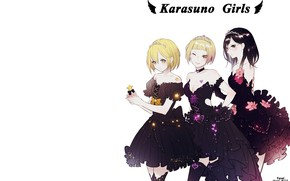 Picture girls, trio, Volleyball, Haikyuu, party dresses