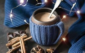 Picture winter, coffee, hot, chocolate, cinnamon, garland