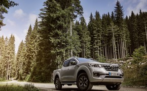 Picture forest, trees, Renault, pickup, 4x4, primer, 2017, Alaskan, gray-silver