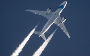 Picture Dreamliner, Boeing, Contrail, Israel Airlines, In flight, Boeing 787-8 Dreamliner, Airliner, The plane