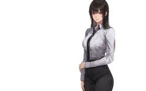 Picture girl, sexy, boobs, anime, pretty, breasts, Chainsaw, Formal, tight suit, chainsaw man
