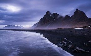 Picture sea, shore, beach, Iceland, Eystrahorn
