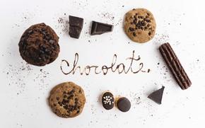 Picture chocolate, cookies, cake, dessert