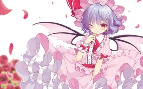 Picture look, petals, girl, Touhou, Quinceanera dresses, Touhou, Touhou