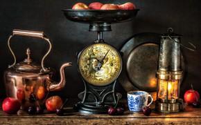 Picture style, berries, apples, lamp, kettle, mug, lantern, still life, Libra, cherry