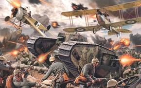 Picture Germany, UK, British Army, Fokker E.II, Первая мировай война, Daniel Bechennec, Mark I Male, WWI …