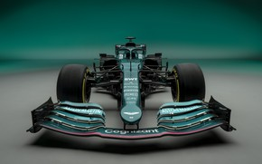 Picture Aston Martin, the car, front, Formula 1, 2021, AMR21
