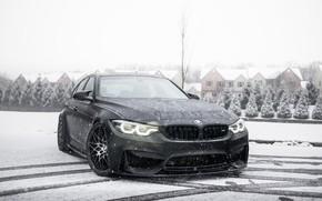 Picture BMW, Light, Winter, Black, Snow, F80, Sight, LED, Angel eye