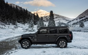 Picture road, snow, profile, 2018, Jeep, dark gray, Wrangler Sahara