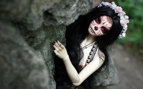 Picture girl, face, hair, doll, tattoo, wreath