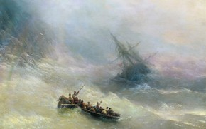 Picture storm, ship, picture, Rainbow, seascape, boat, Ivan Aivazovsky, 1848