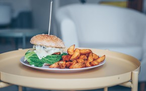 Picture plate, hamburger, French fries