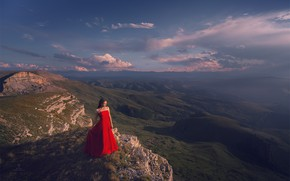 Picture the sky, girl, nature, pose, shadow, valley, dress, plateau, Dmitry Kupratsevich