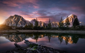 Picture the sky, clouds, trees, mountains, lake, morning