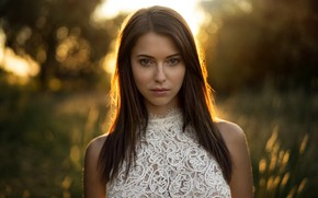 Picture look, the sun, nature, glare, background, model, portrait, makeup, hairstyle, brown hair, beauty, in white, …