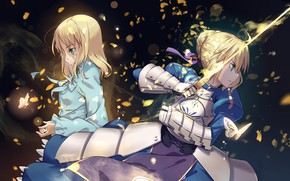 Picture girl, butterfly, sword, girl, Saber, the saber, Fate / Stay Night, Fate stay Night