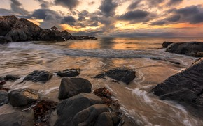 Picture sea, clouds, rocks, coast