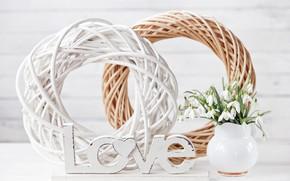 Picture flowers, Love, bouquet, snowdrops, vase, composition