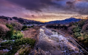 Picture Japan, sunset, Showa, Gunma, crazy colours, Crowded River