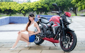 Picture look, Girls, motorcycle, Asian, beautiful girl, posing on my bike, SYM T2