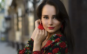 Picture eyes, look, pose, smile, portrait, Girl, earrings, dress, Eugene Fry, Angelica Veselka