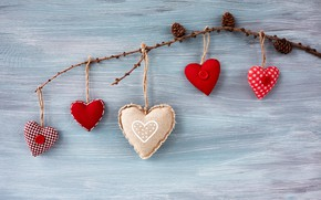 Picture love, heart, hearts, red, red, love, wood, romantic, hearts, valentine's day