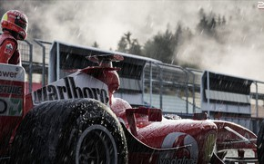 Picture Sport, Machine, Rain, Formula 1, The car, Schumacher, Michael Schumacher, Michael Schumacher, Rendering, Schumacher, The …