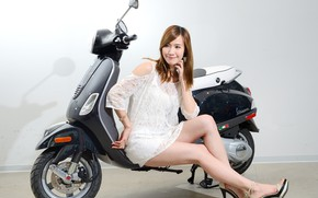 Picture look, Girls, Asian, beautiful girl, posing, scooter, Vespa LT125ie