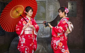 Picture style, girls, two, Japanese women, umbrella, kimono, in red, Asian girls, outfits, brown-haired women