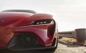 Picture red, coupe, the fence, before, Toyota, 2014, FT-1 Concept
