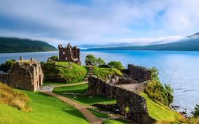 Picture lake, castle, Scotland, Loch Ness, Урквхарт, Аркарт