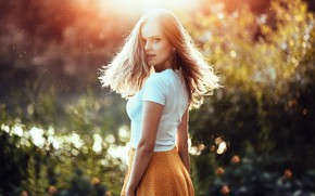 Picture look, girl, light, pose, hair, skirt, Anatoly Oskin, Dayana