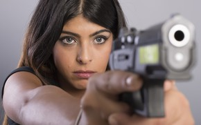 Picture girl, gun, weapons
