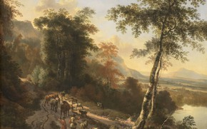 Picture oil, picture, canvas, 1685, Yan Gokart, Jan Hackaert, Landscape with Cattle Drovers
