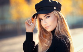 Picture look, the sun, background, model, portrait, makeup, hairstyle, blonde, cap, beauty, jacket, posing, in black, …