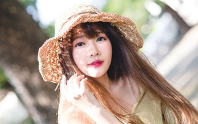Picture girl, light, face, hat, Asian, cutie