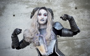 Picture look, girl, face, armor, makeup, cosplay
