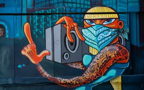 Picture house, wall, graffiti