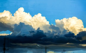 Picture the sky, clouds, power lines