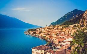 Picture sea, lake, home, Italy, Garda, The Alto Garda Bresciano park