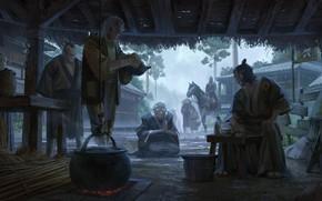 Picture Japan, canopy, rider, Japanese clothing, hearth, on the street, on my knees, samurai, samurai, boiler, …
